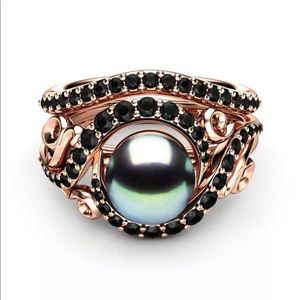 TahitIan Pearl 18KT Rose Gold Filled Blk Sapphire
